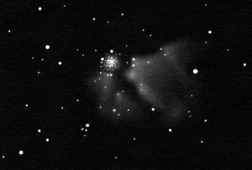 NGC 3603, pozitívba fordított rajz.