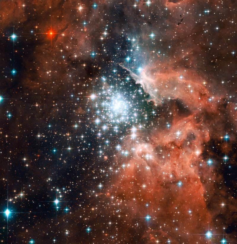 NGC 3603 Hubble Space Telescope (HST) fotó (átméretezve).