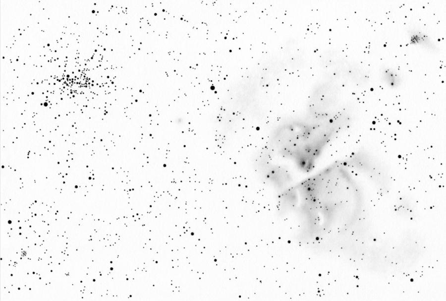 NGC 3372, az eredeti negatív rajz.