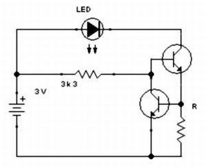Kapcsolási rajz az észlelőlámpában lévő LED-et szabályzó áramkörről.