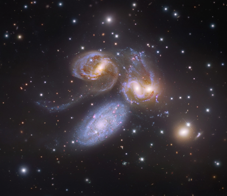 Stephan's Quintet. Composite image from multiple data sources: Amateur data by Robert Gendler, Hubble Legacy Archive (processed by Judy Schmidt), 8.2 meter Subaru Telescope (NAOJ). Image assembly and processing: Robert Gendler and Judy Schmidt.