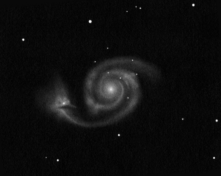 "M 51 drawing using a 16"" telescope (inverted into positive)."