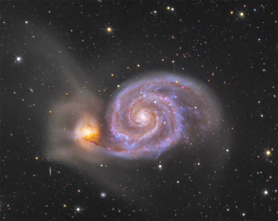 "M 51 photograph by Jon Christensen using a 12.5"" RC telescope."