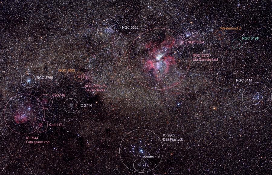 Deep-sky objects around the Eta Carinae Nebula