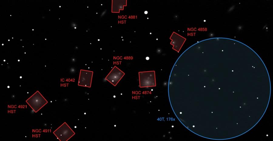 Az alábbi HST (Hubble Űrtávcső) fotók látómezői (pirossal), illetve a rajzoláshoz használt 40 cm-es távcső látómezeje (kékkel) a Coma Halmaz rajzon.