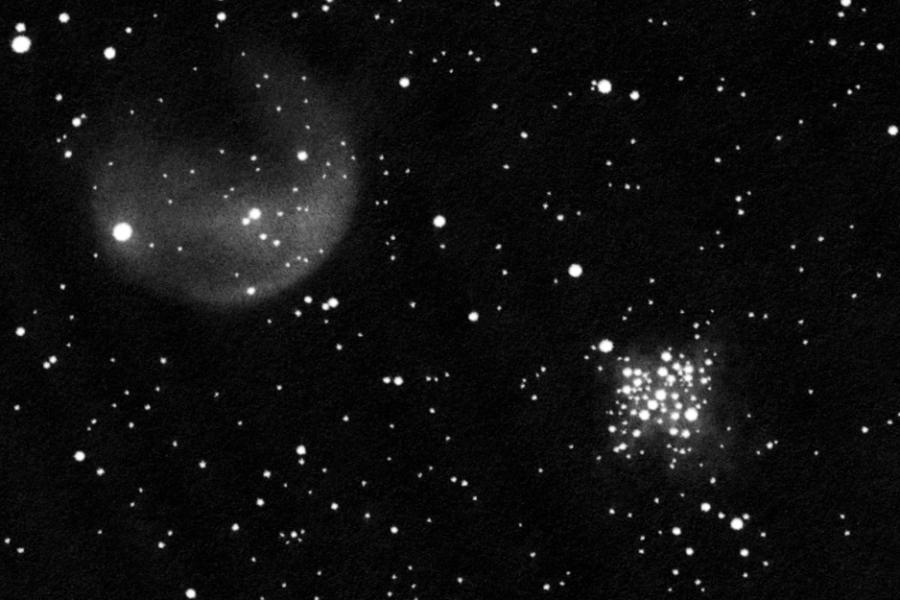 NGC 3293-3324, pozitívba fordított rajz.