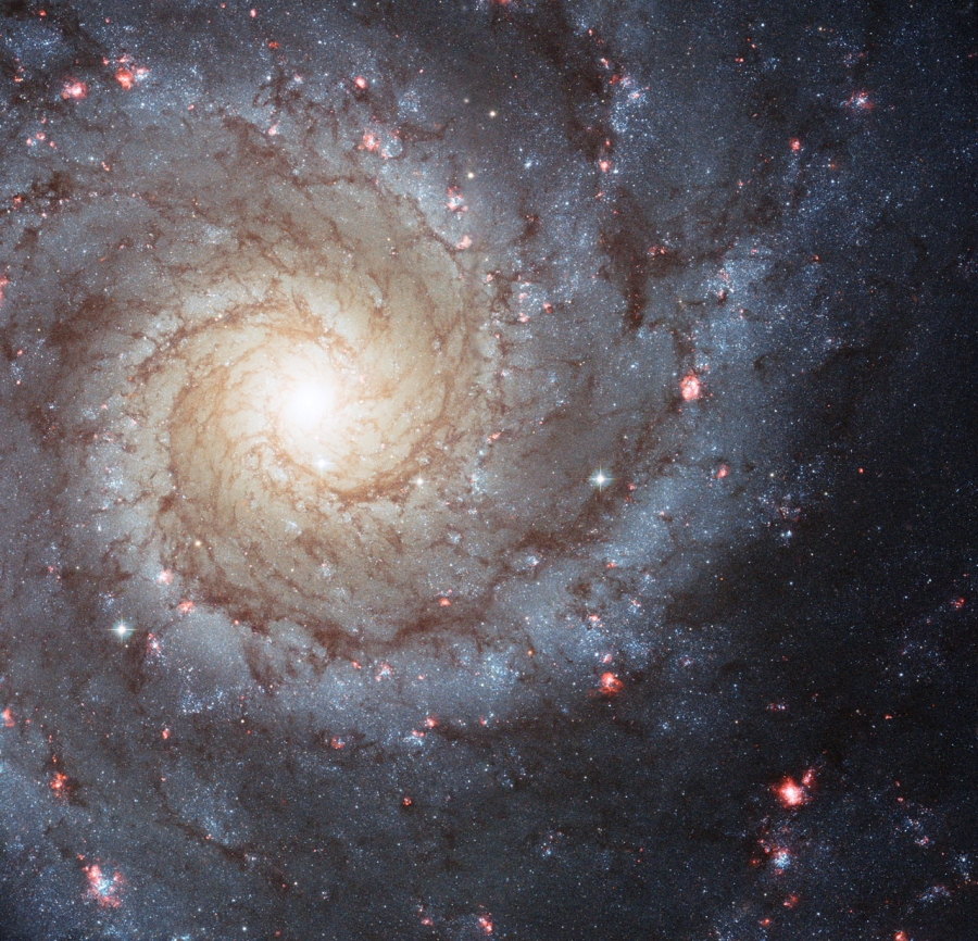 Az M 74 magvidéke a Hubble Űrtávcső felvételén.