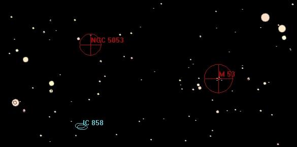 Az M 53 és az NGC 5053 a Guide térképprogramban.