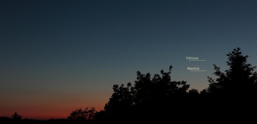 Merkúr és Vénusz 2020.05.21-én az esti égen, egy nappal az együttállás előtt.