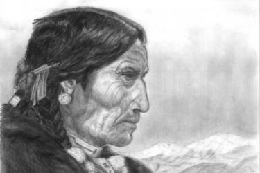 Irokéz indián portré